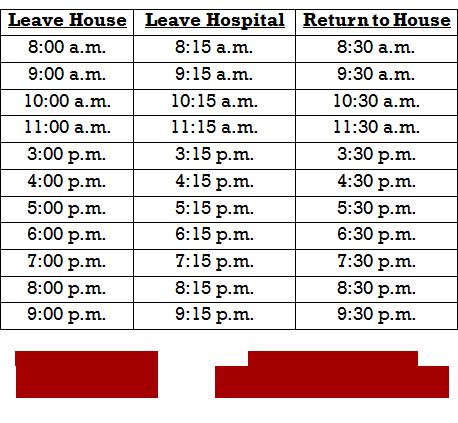 Ronald McDonald Van Schedule