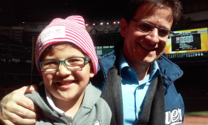 Jerome and Mark Attanasio at the Brewers game.