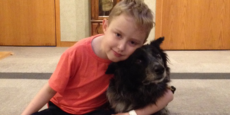 Nathan and Squirt, a Therapy Dog