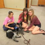 Therapy dog with three girls