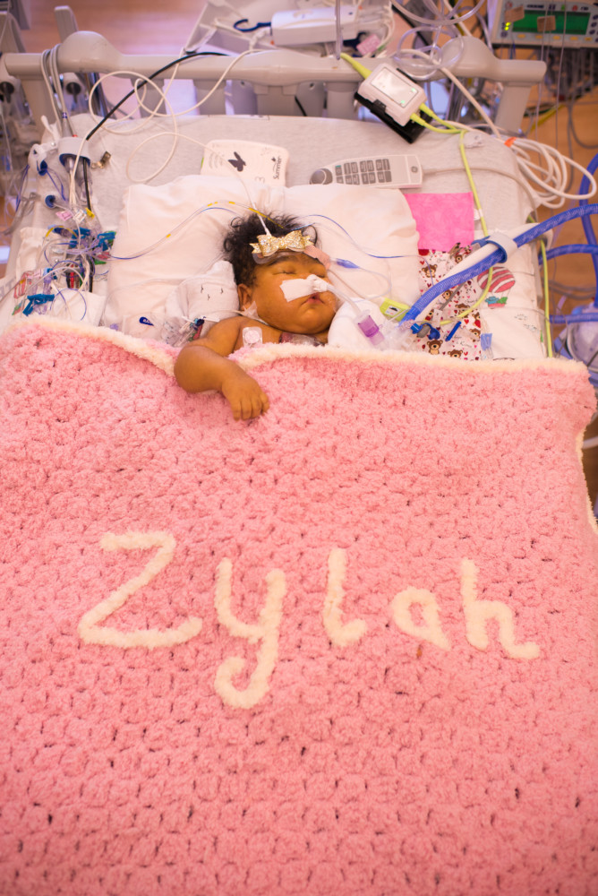 Baby Zylah in the hospital